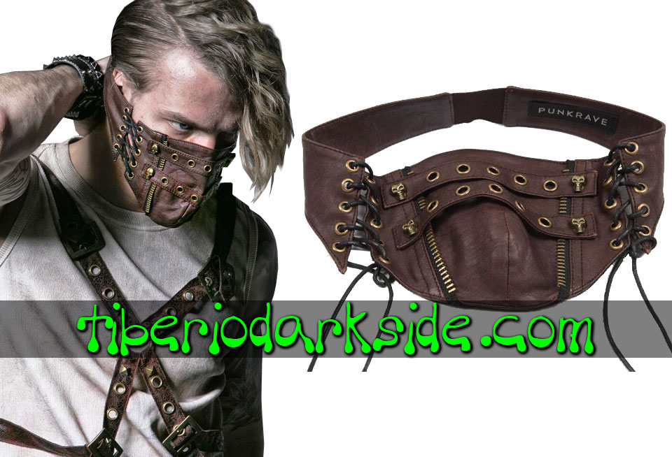 POST APOCALYPTIC - Accesorios PUNK RAVE Mascara Post Apocaliptica Marron