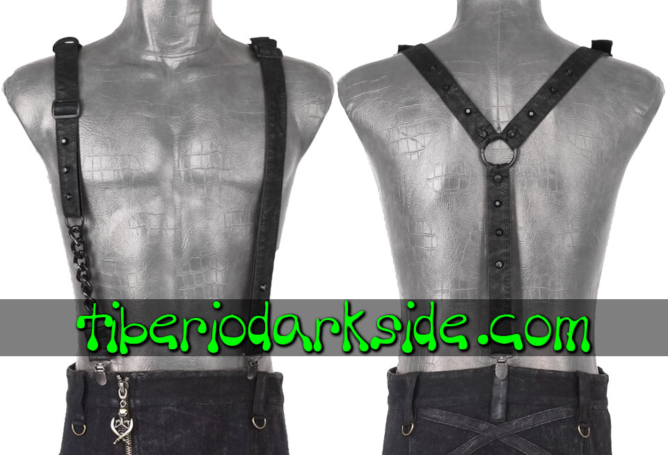 ACCESSORIES - Harnesses PUNK RAVE Black Post Apocalyptic Suspenders