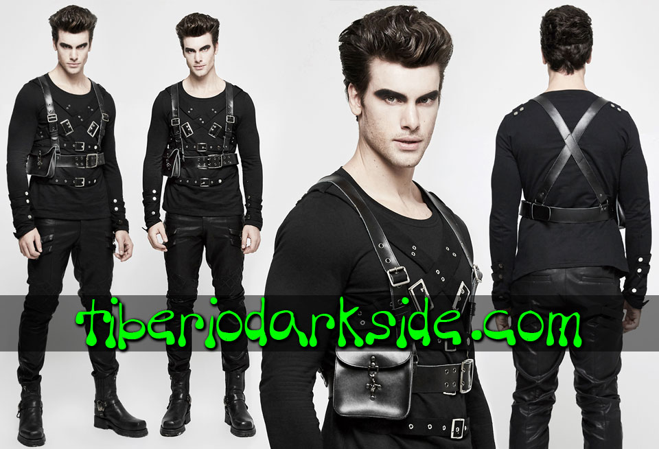 CORPORATE & MILITARY GOTH - Accesorios PUNK RAVE Arnes Militar Bolsillo Negro
