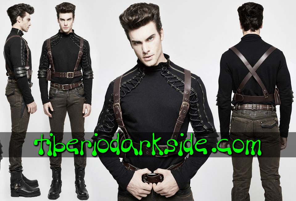 ACCESSORIES - Harnesses PUNK RAVE Brown Pocket Steampunk Harness