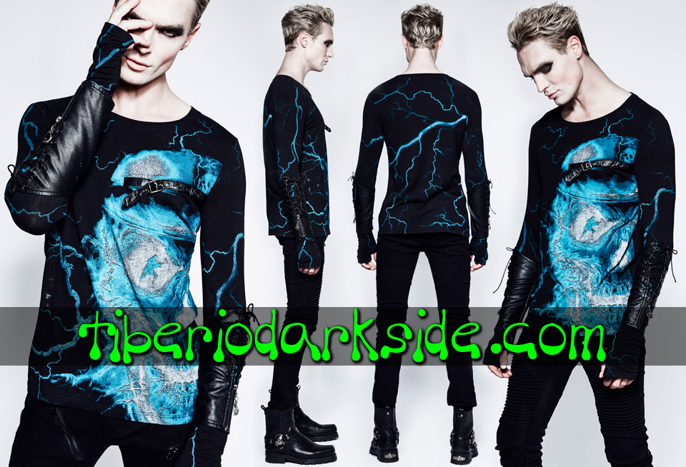 Tops - Long Sleeve PUNK RAVE Thunder Skull Gothic Top