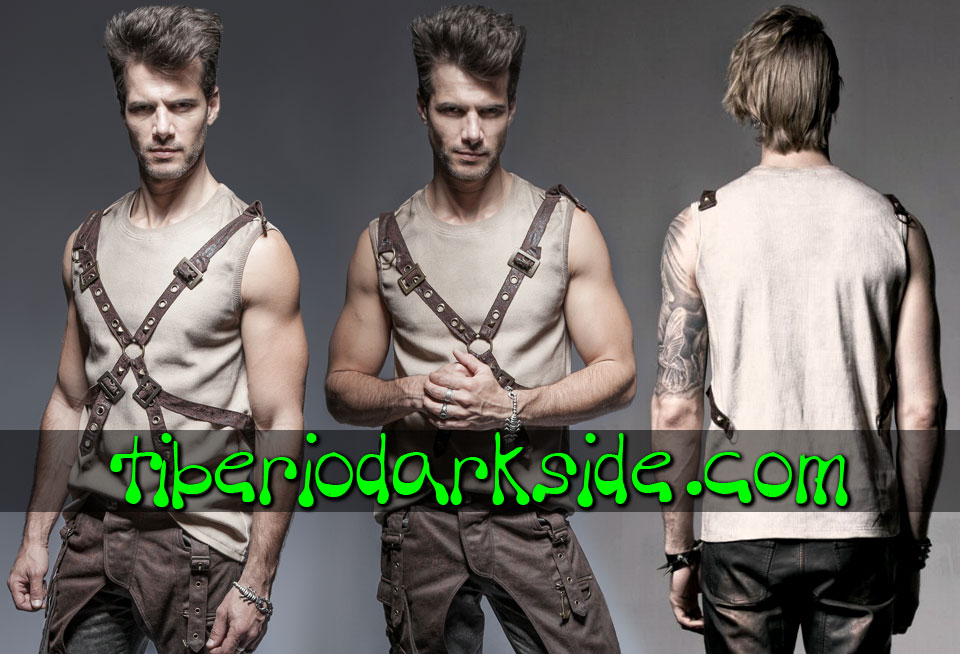 HOMBRE - Tops PUNK RAVE Top Post Apocaliptico Hebillas Marron