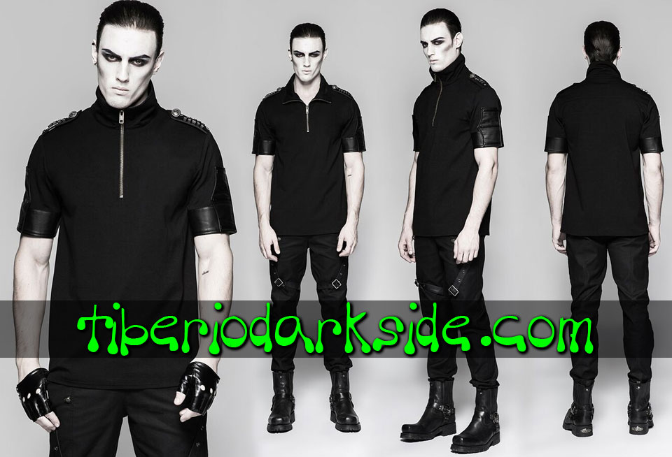 MILITARY GOTH - Hombre PUNK RAVE Top Polo Military Goth