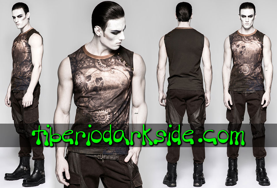 Tops - Sin Mangas PUNK RAVE Top Steampunk Engranajes Marron