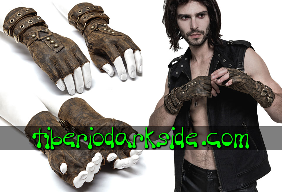 POST APOCALIPTICO - Accesorios PUNK RAVE Guantes Post Apocalipticos Marron