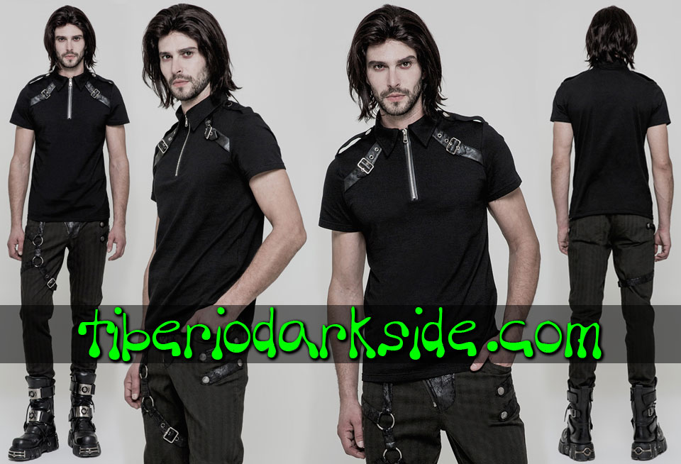 MILITARY GOTH - Hombre PUNK RAVE Top Polo Military Goth Hebillas