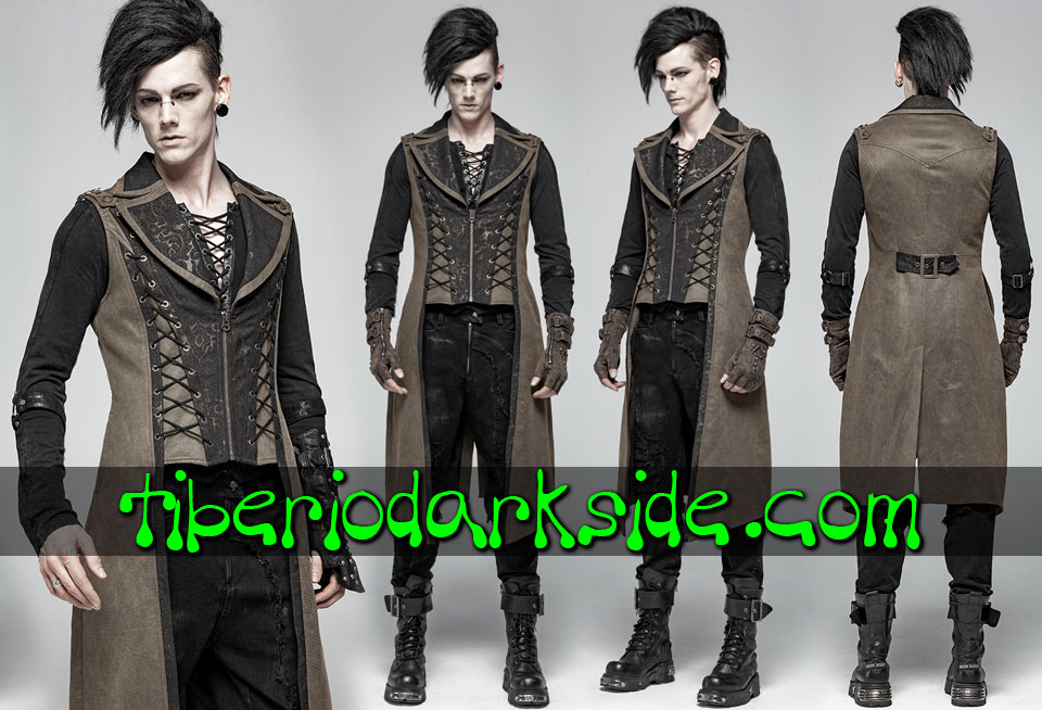 STEAMPUNK - Hombre PUNK RAVE Chaleco Largo Steampunk Brocado Marron