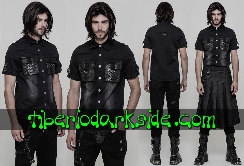 Shirts - Short Sleeve PUNK RAVE Dragon Scale Pockets Industrial Shirt