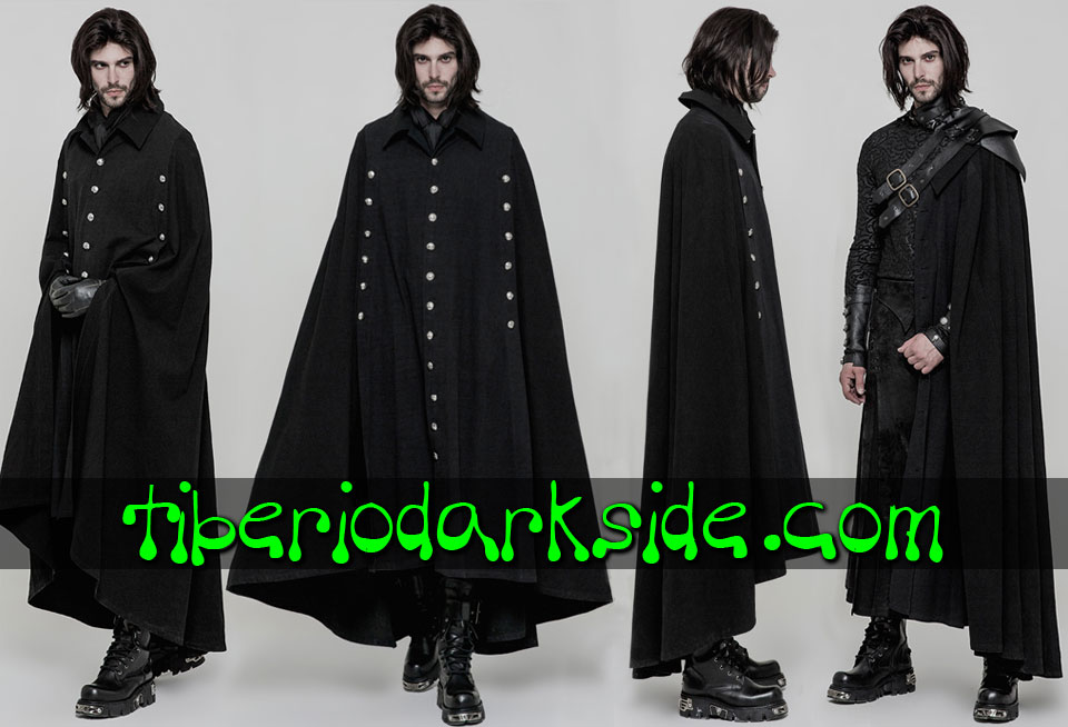 CORPORATE & MILITARY GOTH - Hombre PUNK RAVE Capa Militar Uniforme Botones