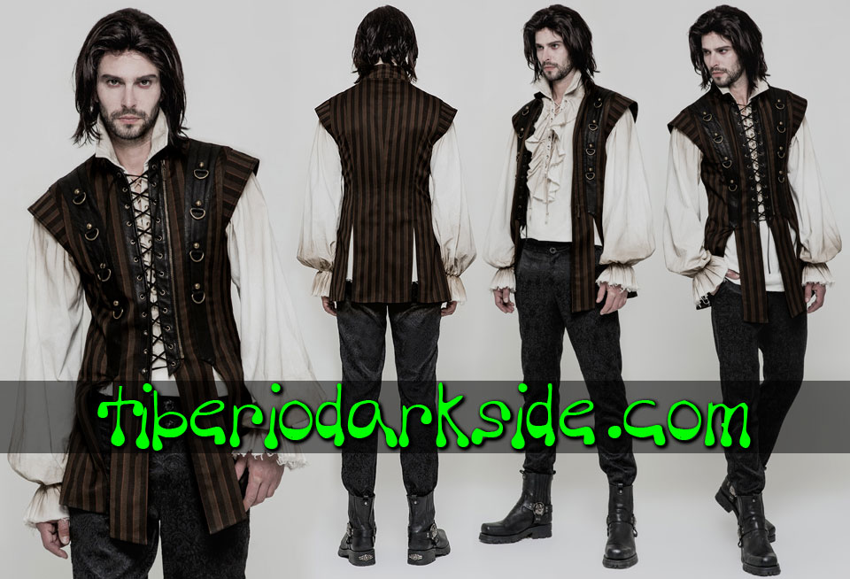 HOMBRE - Chalecos PUNK RAVE Chaleco Largo Neo Medieval Rayas