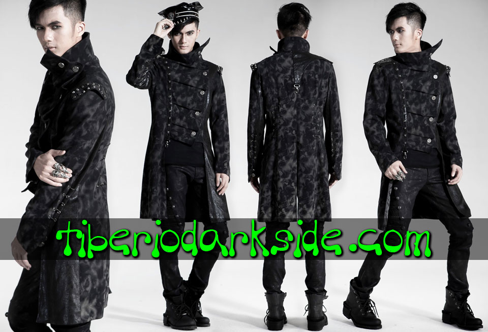 CORPORATE & MILITARY GOTH - Hombre PUNK RAVE Abrigo Casaca Visual Asimetrico