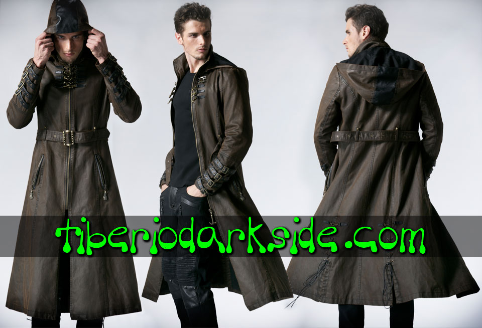 POST APOCALYPTIC - Men's PUNK RAVE Vintage Brown Hooded Post Apocalyptic Coat
