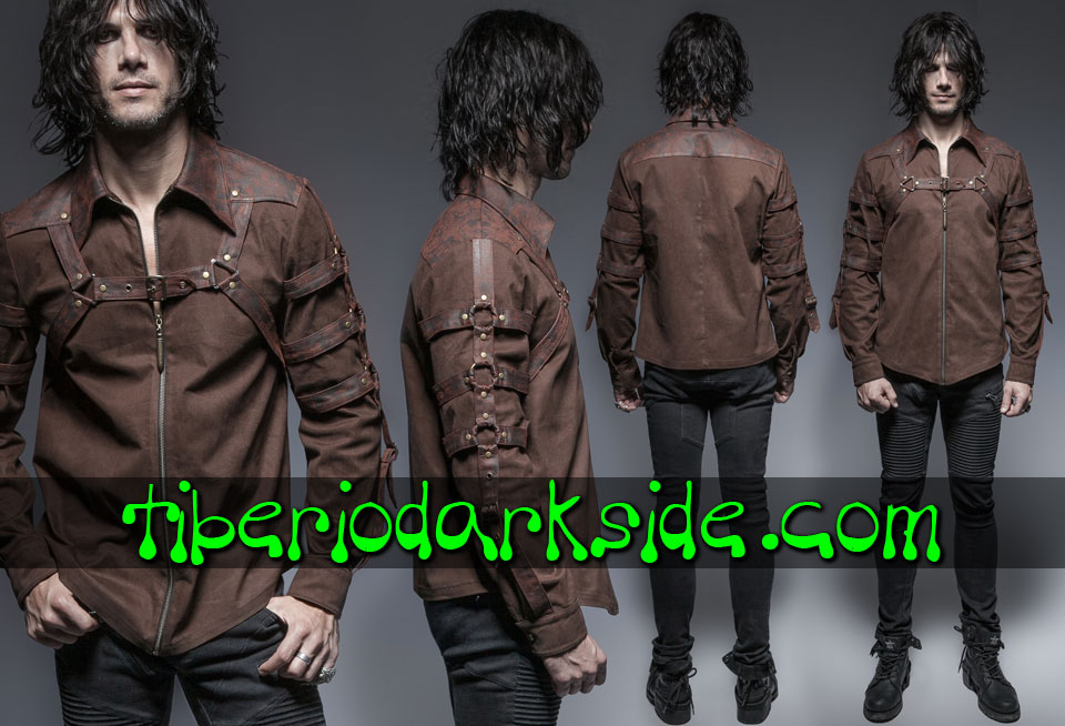 POST APOCALYPTIC & CYBER GOTH - Hombre PUNK RAVE Camisa Post Apocaliptica Arnes Pecho