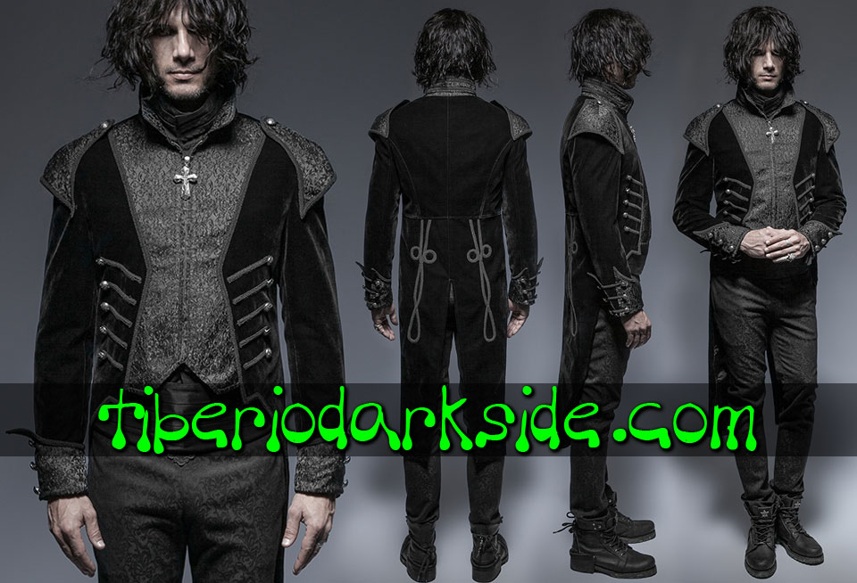 CORPORATE & MILITARY GOTH - Hombre PUNK RAVE Chaqueta de Cola Gotica Almirante