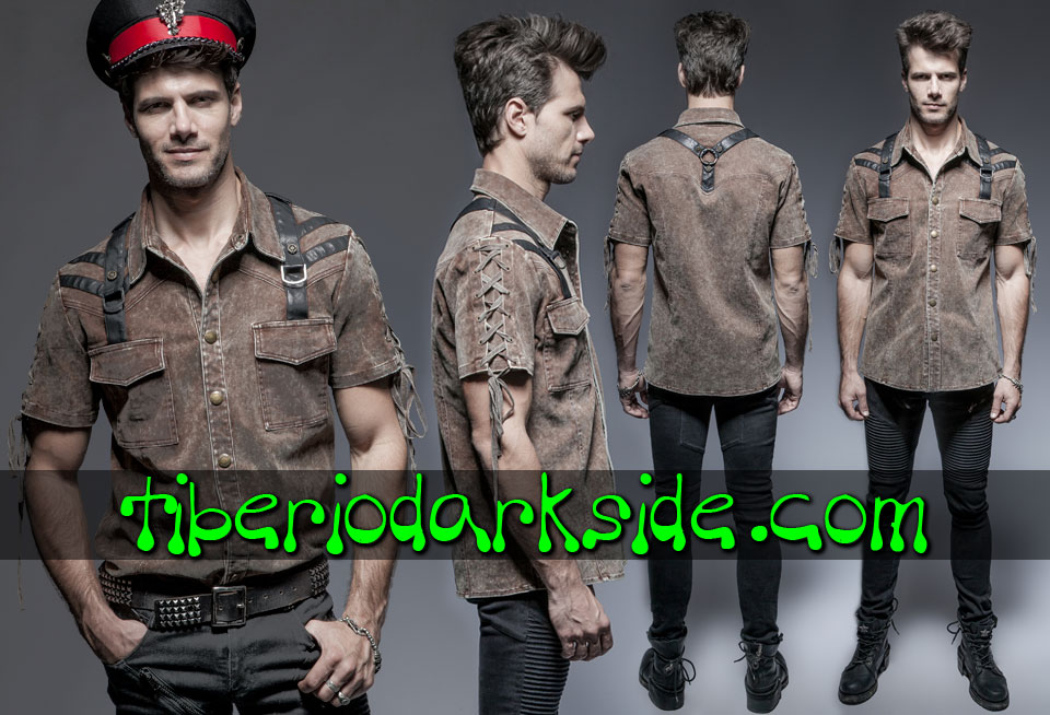 Shirts - Short Sleeve PUNK RAVE Soldier Post Apocalyptic Shirt