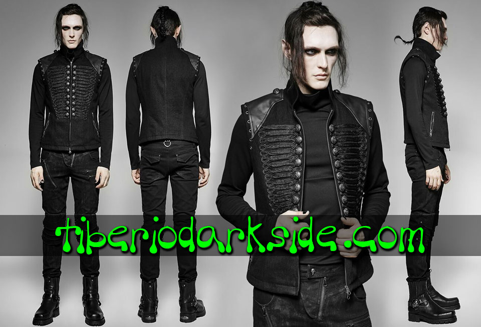 MILITARY GOTH - Hombre PUNK RAVE Chaleco Neo Goth Militar
