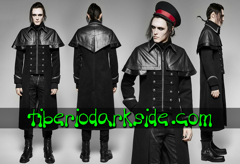 CORPORATE & MILITARY GOTH - Hombre PUNK RAVE Abrigo Militar Uniforme Capitan