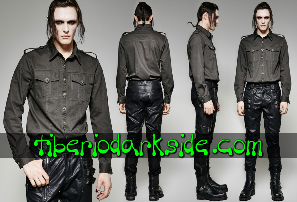 MILITARY GOTH - Hombre PUNK RAVE Camisa Military Goth Uniforme Gris