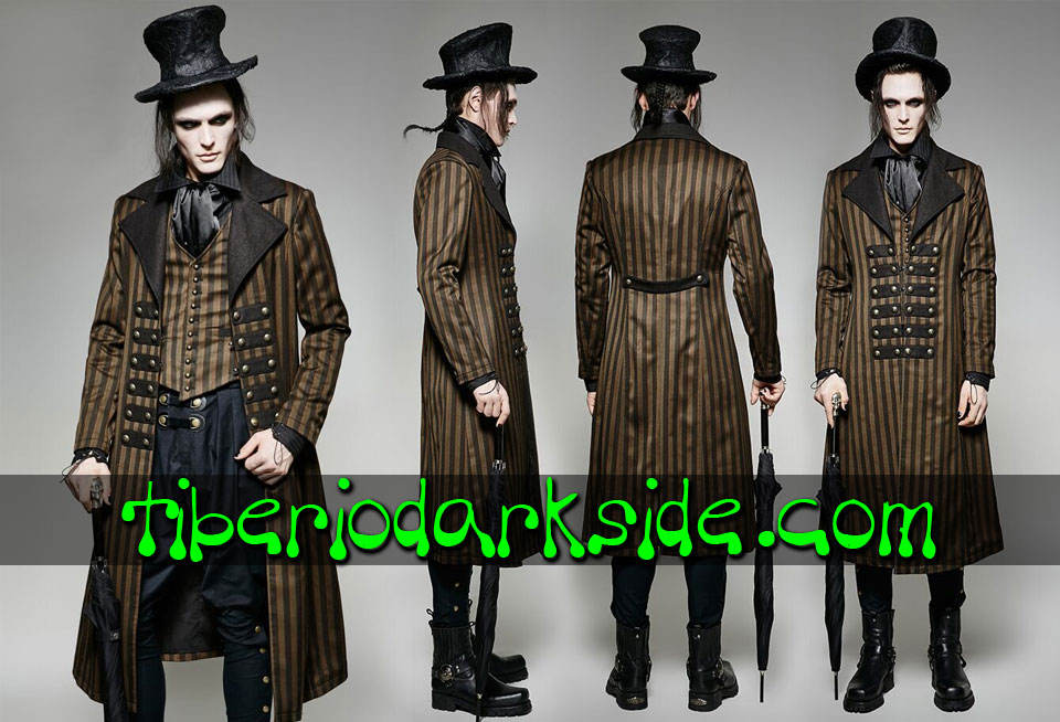 - STEAMPUNK PUNK RAVE Abrigo Steampunk Rayas Marron