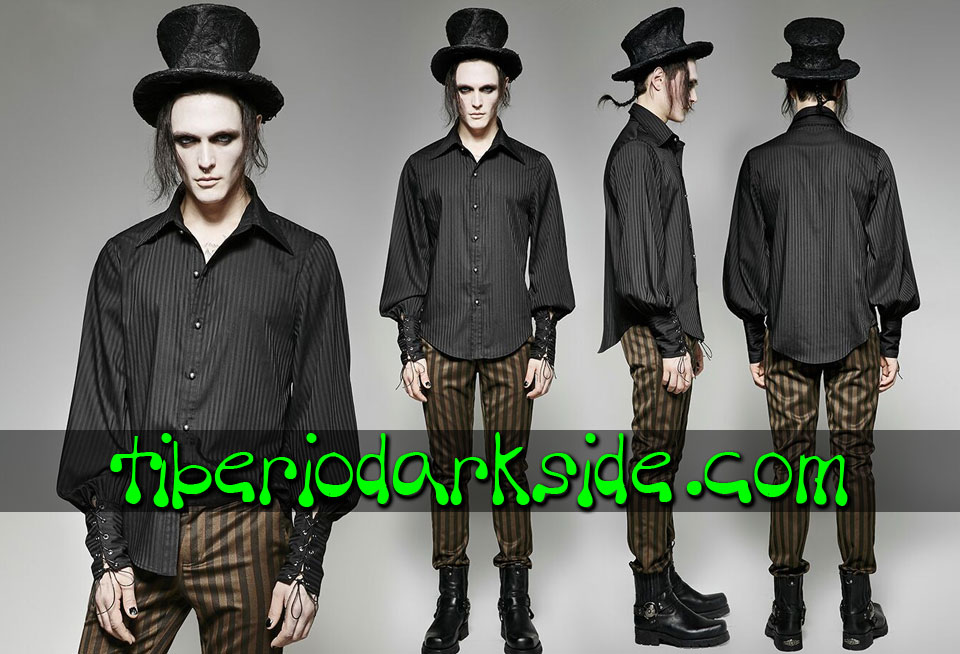 STEAMPUNK - Hombre PUNK RAVE Camisa Steampunk Rayas Negro
