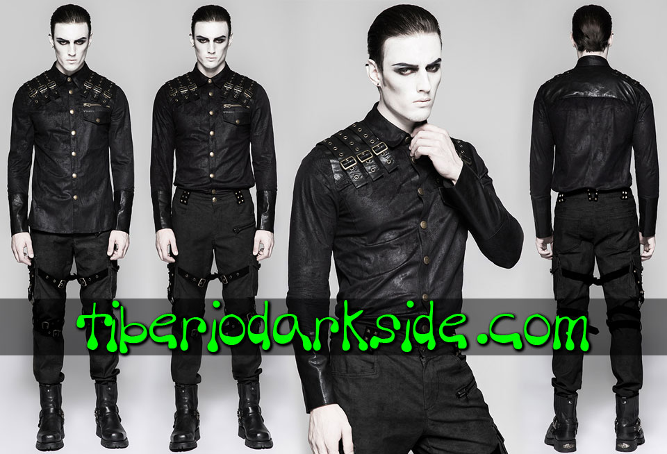 POST APOCALYPTIC & CYBER GOTH - Hombre PUNK RAVE Camisa Post Apocaliptica Distopia