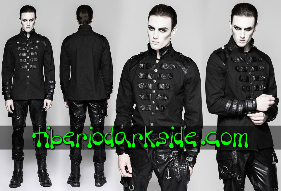 MILITARY GOTH - Hombre PUNK RAVE Camisa Military Goth Uniforme Negro