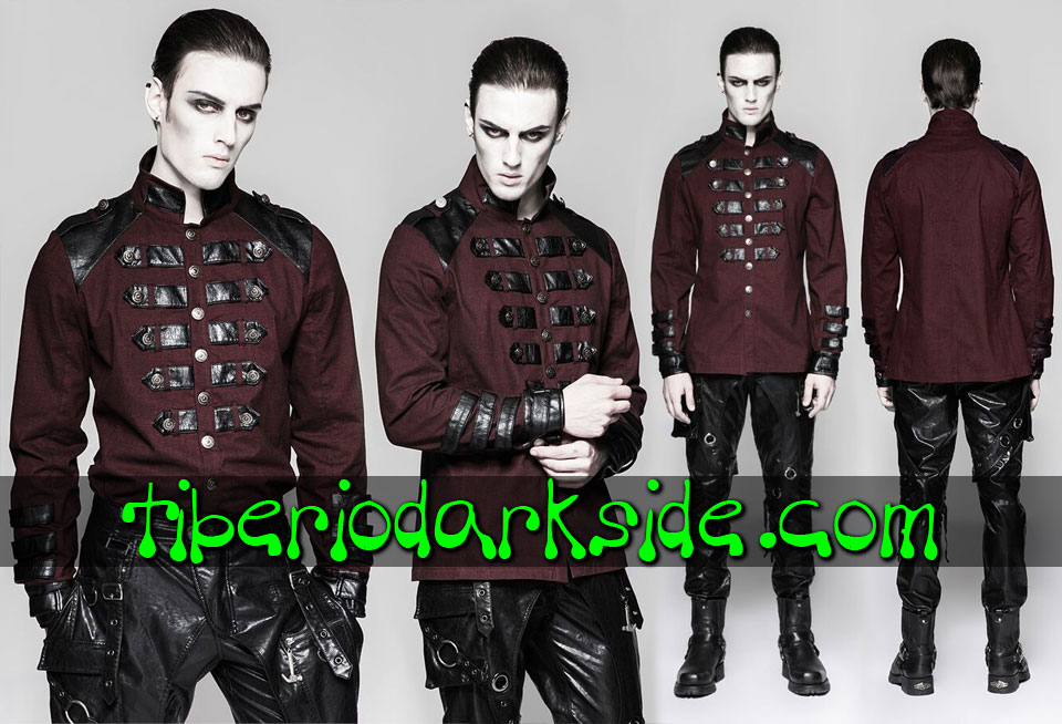 MILITARY GOTH - Hombre PUNK RAVE Camisa Military Goth Uniforme Rojo