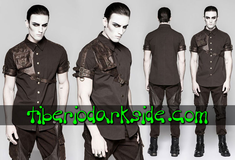 Shirts - Short Sleeve PUNK RAVE Brown Pocket Harness Steampunk Shirt