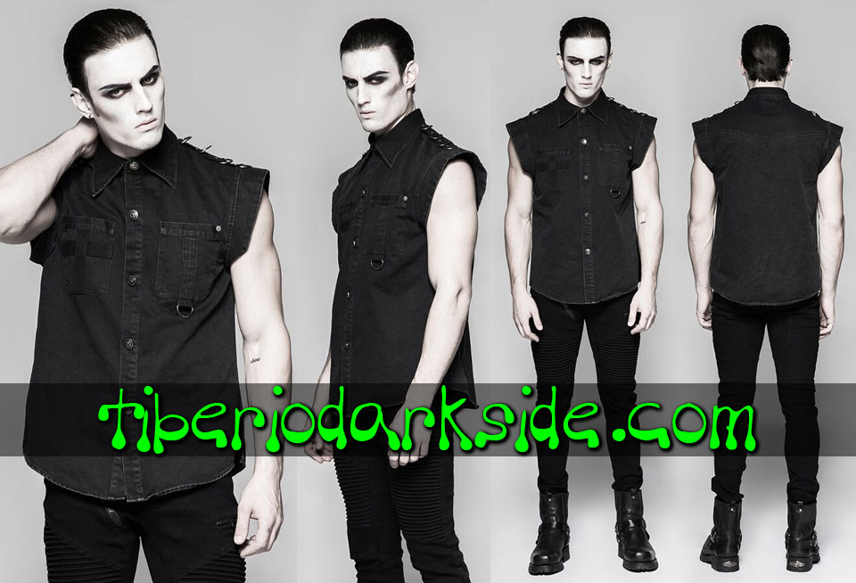 CORPORATE & MILITARY GOTH - Hombre PUNK RAVE Camisa Military Goth Cruz Negra