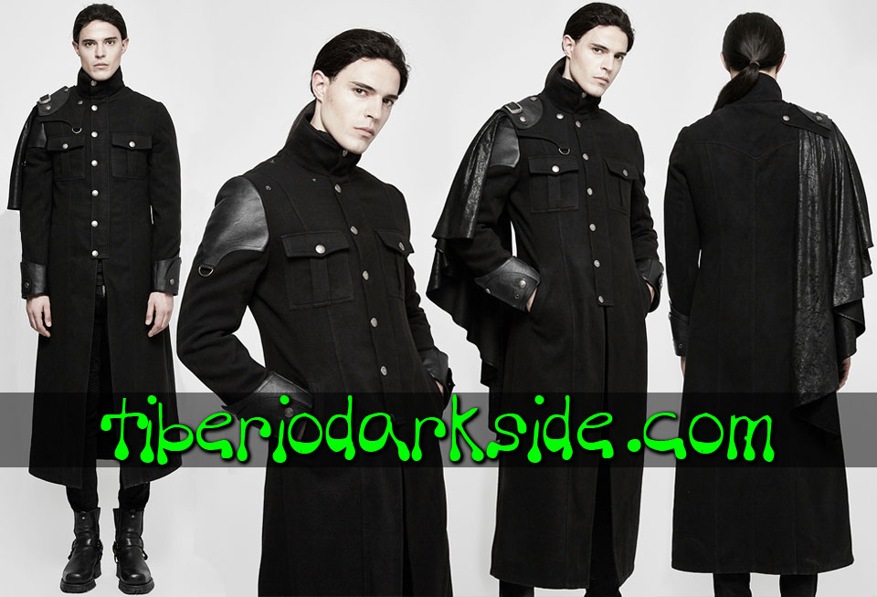 CORPORATE & MILITARY GOTH - Hombre PUNK RAVE Abrigo Militar Uniforme Capa Lateral