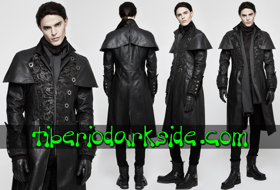 - MEN PUNK RAVE Brown Synthetic Leather Steampunk Cape Coat