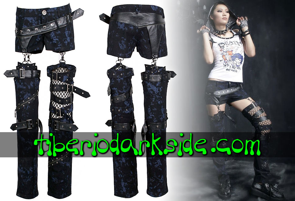 Pantalones - Largos PUNK RAVE Shorts + Perneras Visual Kei Azul