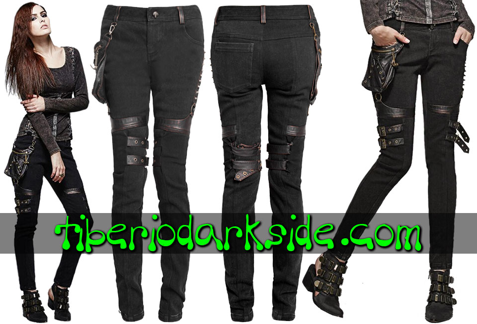 POST APOCALYPTIC & CYBER GOTH - Pantalones PUNK RAVE Pantalones Post Apocalipticos Bolsillo Lateral