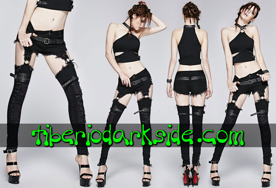 POST APOCALYPTIC - Pantalones PUNK RAVE Shorts + Perneras Post Apocalipticos