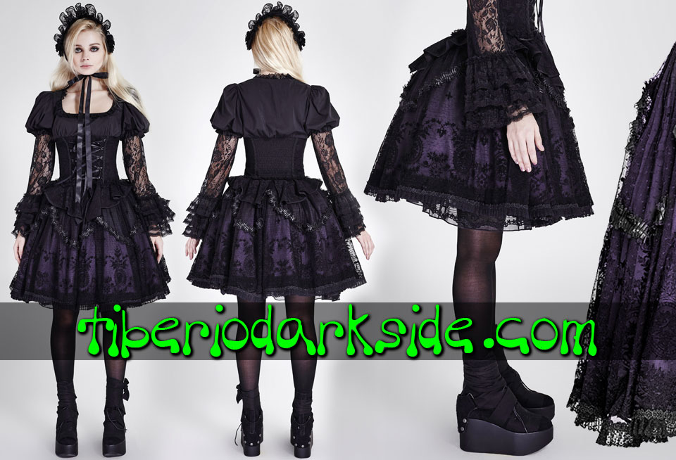 - GOTHIC LOLITA PYON PYON Purple Flocking Gothic Lolita Skirt