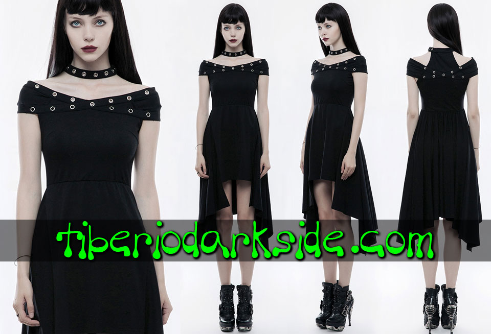 - CASUAL GOTH PUNK RAVE Vestido Casual Goth Ojales Hombros