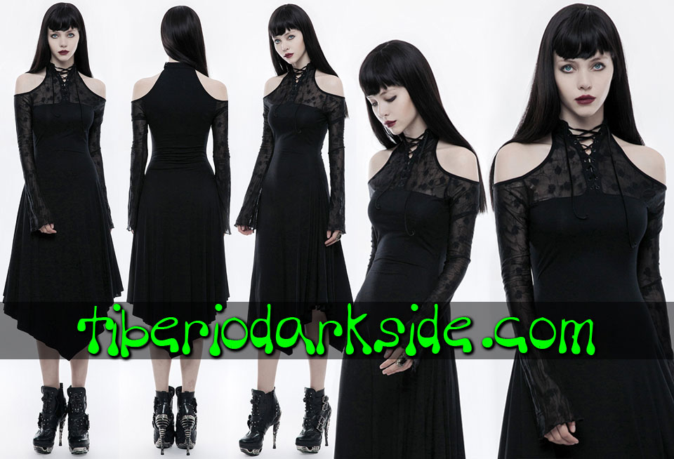 - VICTORIAN GOTH PUNK RAVE Flower Mesh Gothic Dress