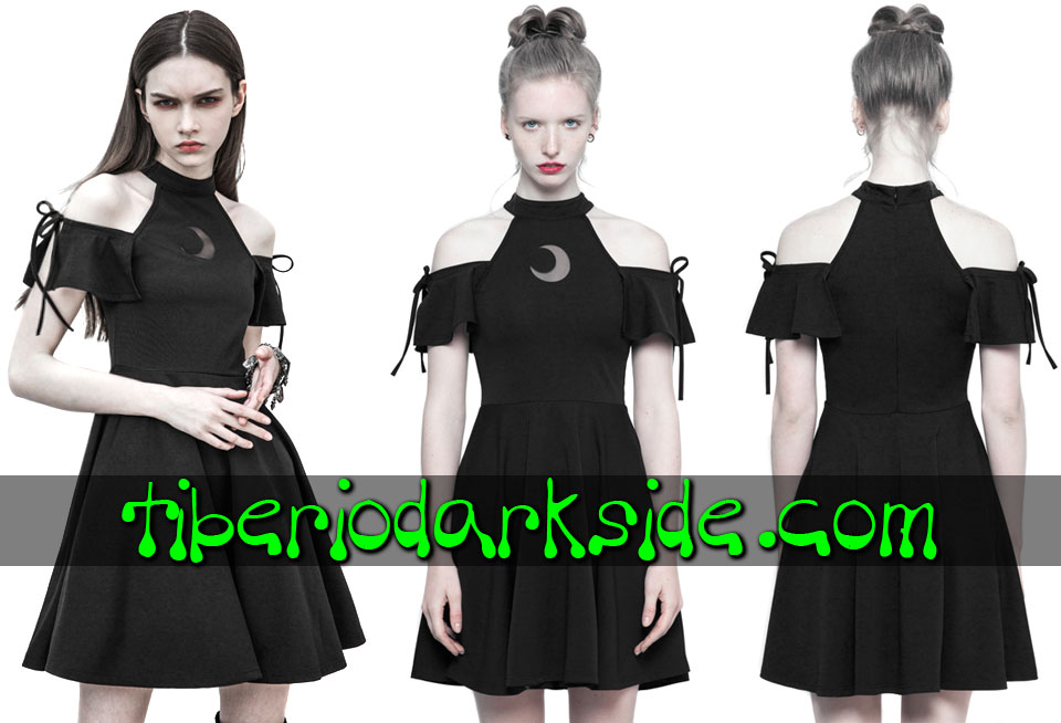 Dresses - Short - Short Sleeve PUNK RAVE Crescent Moon Off Shoulder Nu Goth Dress