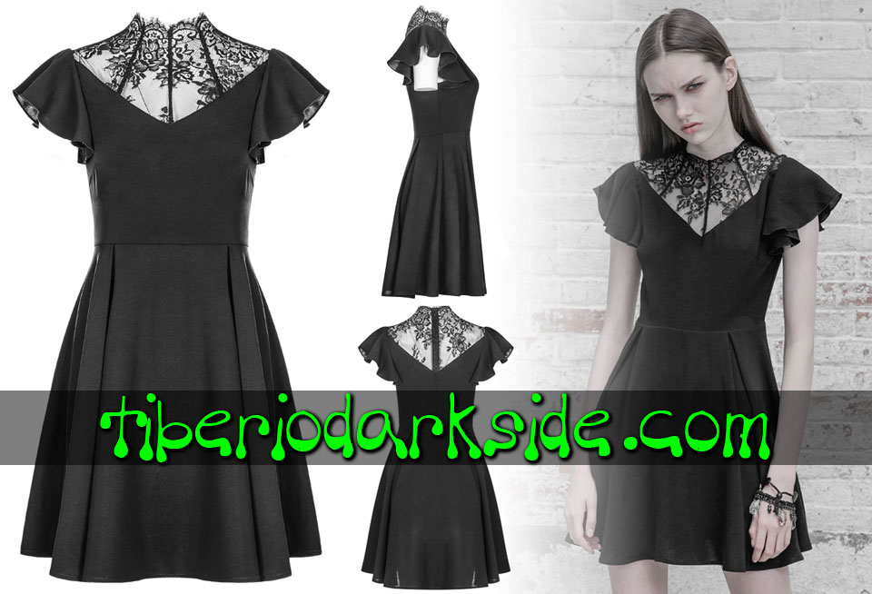 Dresses - Short - Short Sleeve PUNK RAVE Victorian Lace Collar Boho Goth Dress