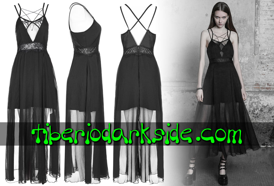- BOHO GOTH PUNK RAVE Lace Waist Long Boho Goth Dress