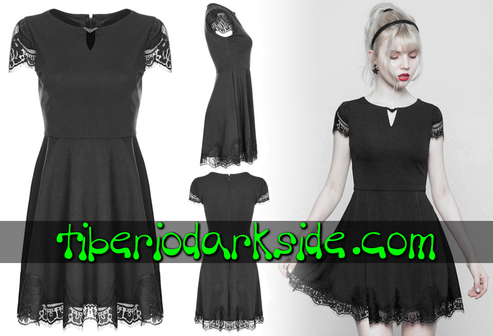 Dresses - Short - Short Sleeve PUNK RAVE Lace Piece Boho Goth Dress
