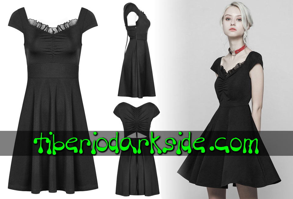 Dresses - Short - Short Sleeve PUNK RAVE Ruched Drawstring Boho Goth Dress