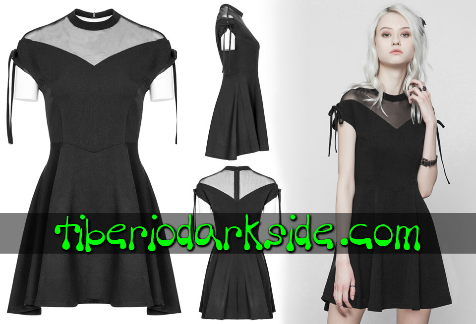 Dresses - Short - Short Sleeve PUNK RAVE Mesh Drawstring Boho Goth Dress