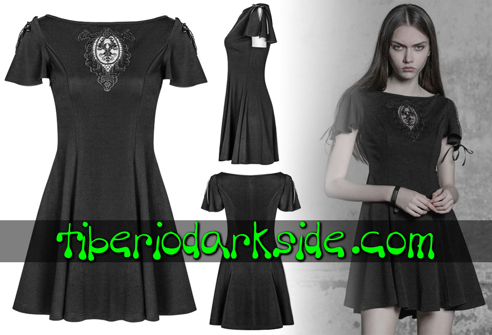Dresses - Short - Short Sleeve PUNK RAVE Guipure Medallion Boho Goth Dress