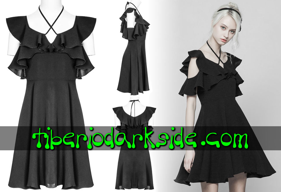 Dresses - Short - Short Sleeve PUNK RAVE Crossed Frill Boho Goth Dress