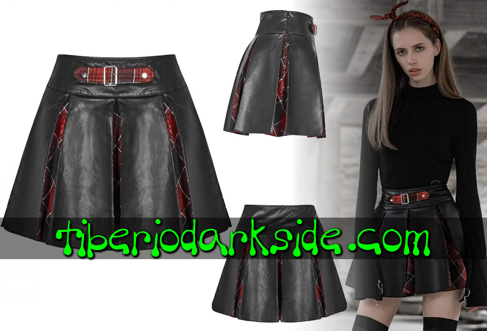 Skirts - Short PUNK RAVE Leather and Tartan Pleated Casual Goth Skirt