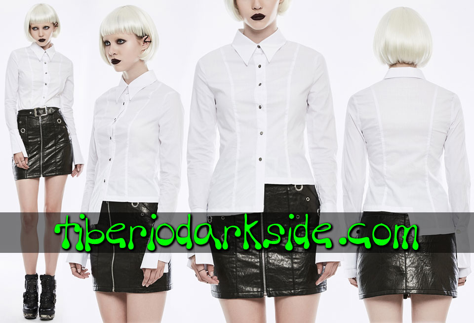 CASUAL & DAILY GOTH - Camisas y Tops PUNK RAVE Camisa Casual Goth Bajo Asimetrico Blanco