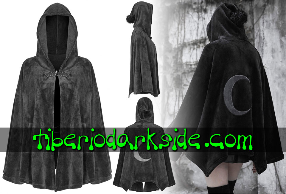 WITCHY & NU GOTH - Outwear PUNK RAVE Crescent Moon Velvet Nu Goth Hooded Cape