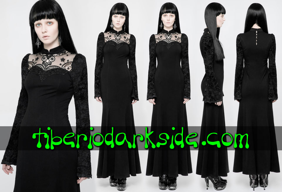 - CLASSIC & VICTORIAN GOTH PUNK RAVE Guipure Necklice Lace Sleeves Gothic Dress