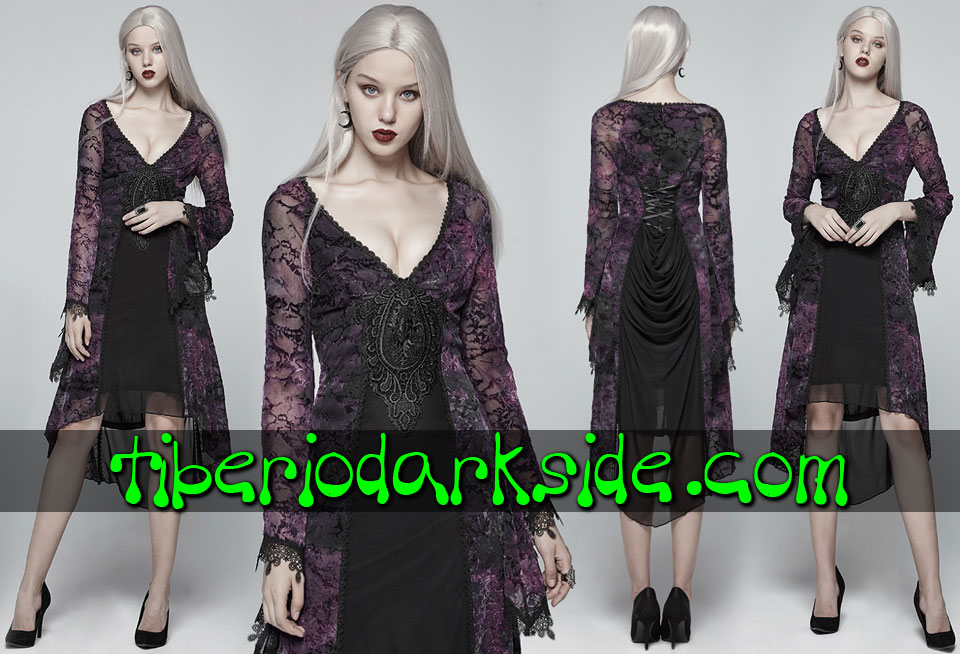 - VICTORIAN GOTH PUNK RAVE Purple Tye Dye Flocade Gothic Dress